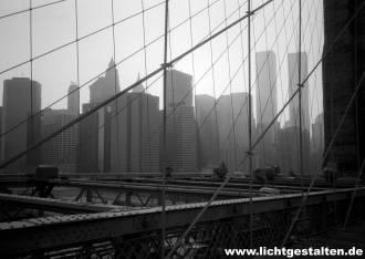 New York Manhattan Brooklyn Bridge Skyline World Trade Center 1992